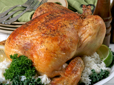 Roast Chicken with Thyme and Onion Stuffing