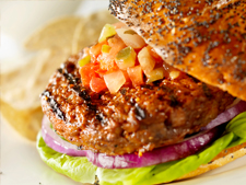Burger with Melted Cheese and Tomato Salsa