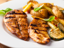 Grilled Chicken with Potato wedges and stir fry vegetables