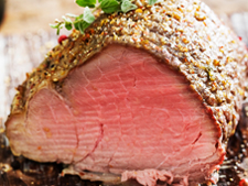 Roast Striploin/Tenderloin with Peppercorn Crust, Mustard and Herb Dressing