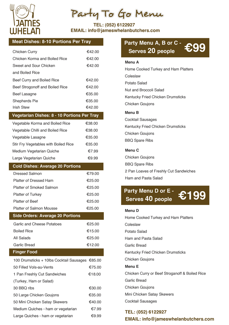 Party To Go Menu - James Whelan Butchers