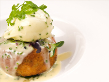 Colcannon Cakes with Poached Eggs and Hollandaise Sauce