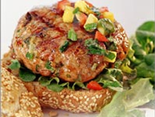pork burgers with red pepper and mango salsa