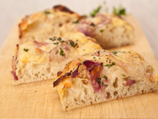 Soda Focaccia with Red Onions, Olives and Rosemary