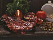 Pomegranate Marinated Hanger Steak with a Warm Farro Salad