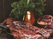 Pomegranate-Marinated Hanger Steak with a Warm Farro Salad